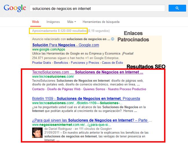 página en google, que es el seo, web en buscadores, sitio web en google